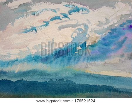 Watercolor original painting Landscape painting colorful illustration mountain forest mountain range in sky cloud background. Hand Painted