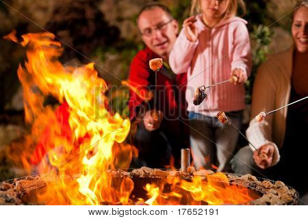 Family at the barbecue in the evening, they grilling marshmallows