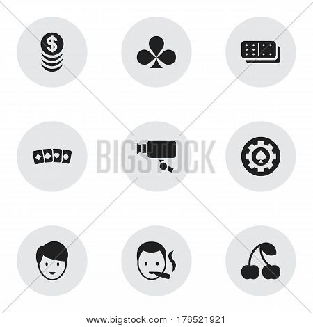 Set Of 9 Editable Excitement Icons. Includes Symbols Such As Black Heart, Casino Worker, Smoker And More. Can Be Used For Web, Mobile, UI And Infographic Design.