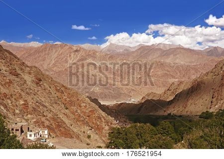 View over Mountain Range in the High-Altitude Mountain Desert in the Himalayas, Ladakh Region, Northern India.