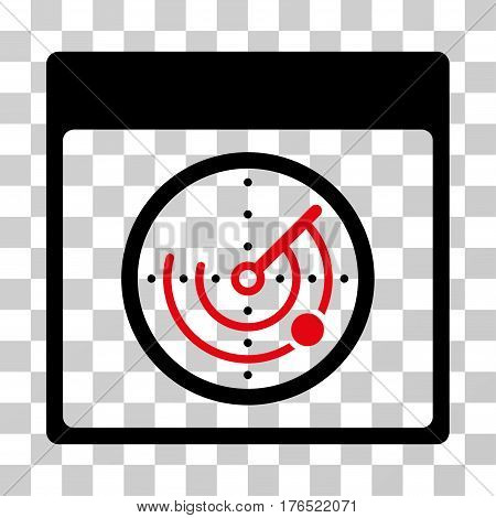 Radar Calendar Page icon. Vector illustration style is flat iconic bicolor symbol, intensive red and black colors, transparent background. Designed for web and software interfaces.