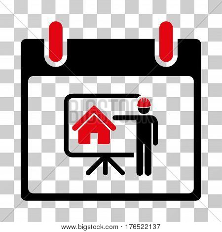 Realty Developer Calendar Day icon. Vector illustration style is flat iconic bicolor symbol, intensive red and black colors, transparent background. Designed for web and software interfaces.