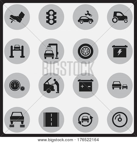 Set Of 16 Editable Transport Icons. Includes Symbols Such As Stoplight, Vehicle Wash, Race And More. Can Be Used For Web, Mobile, UI And Infographic Design.