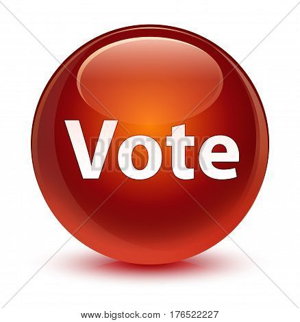 Vote Glassy Brown Round Button