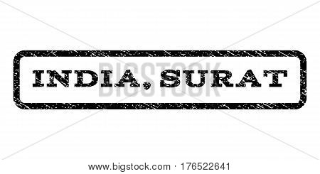 India, Surat watermark stamp. Text caption inside rounded rectangle with grunge design style. Rubber seal stamp with dirty texture. Vector black ink imprint on a white background.
