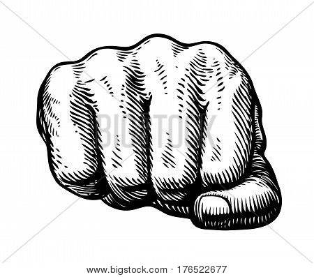 Fist, hand gesture sketch. Punch symbol. Vector illustration isolated on white background