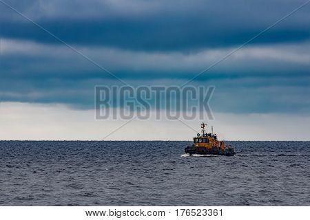 Small Orange Tug Ship