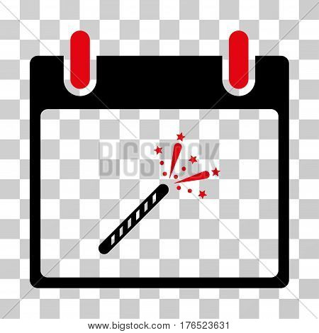 Sparkler Firecracker Calendar Day icon. Vector illustration style is flat iconic bicolor symbol, intensive red and black colors, transparent background. Designed for web and software interfaces.