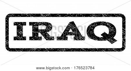 Iraq watermark stamp. Text caption inside rounded rectangle frame with grunge design style. Rubber seal stamp with scratched texture. Vector black ink imprint on a white background.