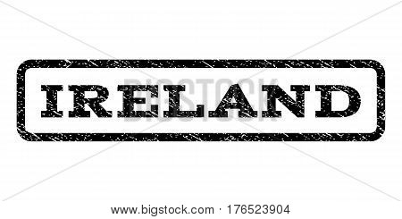 Ireland watermark stamp. Text caption inside rounded rectangle with grunge design style. Rubber seal stamp with unclean texture. Vector black ink imprint on a white background.