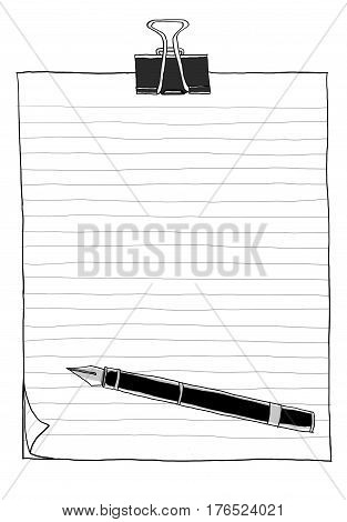 Binder Clip With Paper And Pen Vintage 2 B&w Hand Drawn Illustration