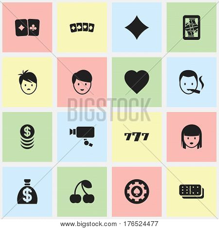 Set Of 16 Editable Excitement Icons. Includes Symbols Such As Moneybag, Tracking Cam, Card Pair And More. Can Be Used For Web, Mobile, UI And Infographic Design.