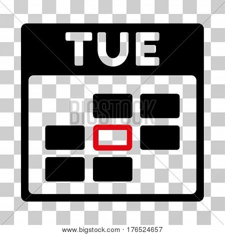 Tuesday Calendar Grid icon. Vector illustration style is flat iconic bicolor symbol, intensive red and black colors, transparent background. Designed for web and software interfaces.