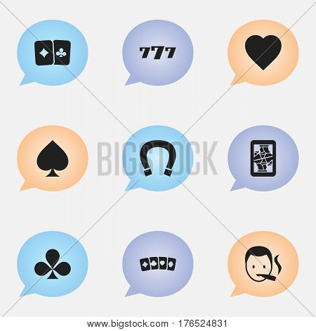 Set Of 9 Editable Excitement Icons. Includes Symbols Such As Card Pair, Lucky Seven, Card Suits And More. Can Be Used For Web, Mobile, UI And Infographic Design.