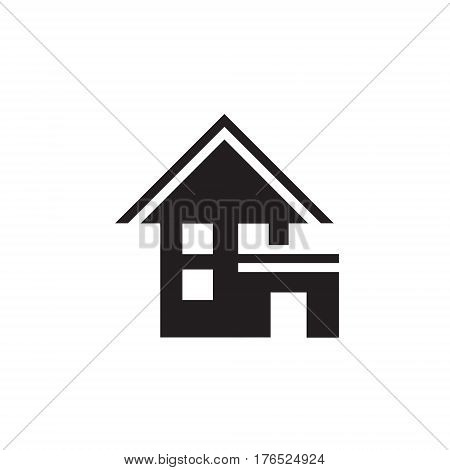 Vector icon or illustration showing living house with garage in one color