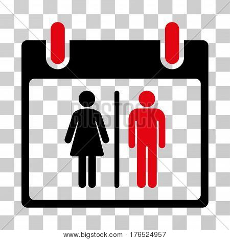 Water Closet Calendar Day icon. Vector illustration style is flat iconic bicolor symbol, intensive red and black colors, transparent background. Designed for web and software interfaces.