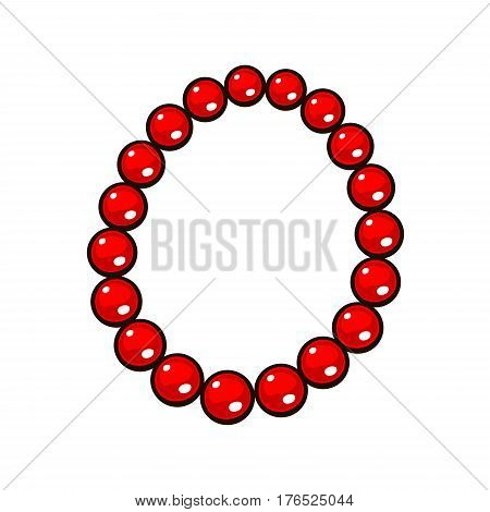 Beads necklace isolated on white background. Red bead. Cartoon style vector illustration