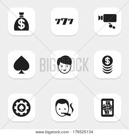 Set Of 9 Editable Excitement Icons. Includes Symbols Such As Moneybag, Blackjack, Black Heart And More. Can Be Used For Web, Mobile, UI And Infographic Design.