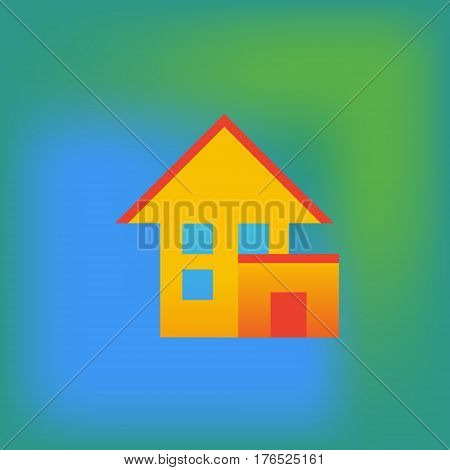 Vector icon or illustration showing living house with garage in brutalism style