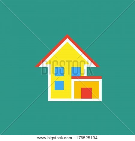 Vector icon or illustration showing living house with garage in outline style