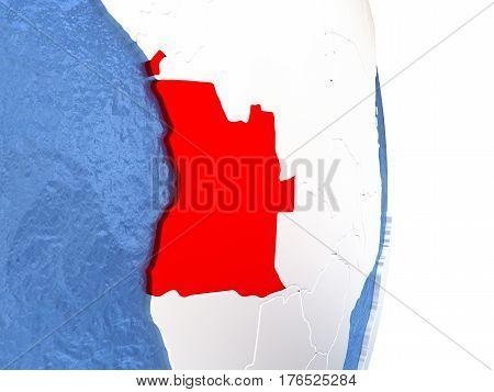 Angola On Shiny Globe With Water