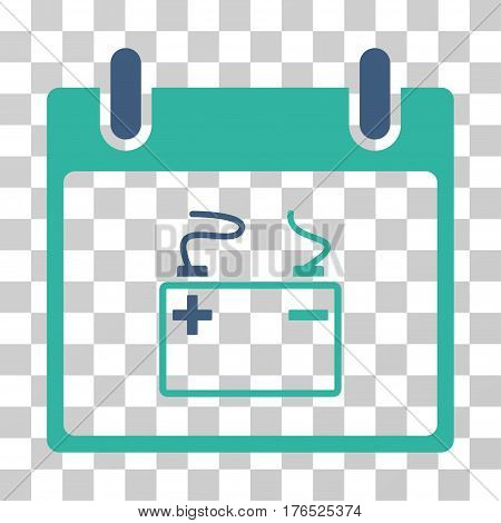 Accumulator Calendar Day icon. Vector illustration style is flat iconic bicolor symbol, cobalt and cyan colors, transparent background. Designed for web and software interfaces.