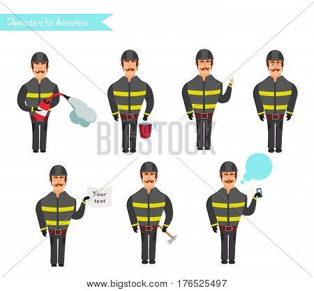 Set for animation of firefighters in uniform protective suit with axe fire hose cartoon vector illustration isolated on white background. Young firefighter fireman set.