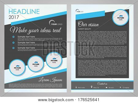 Vector flyer, corporate business, annual report, brochure design and cover presentation with blue circle. Front page and back page.