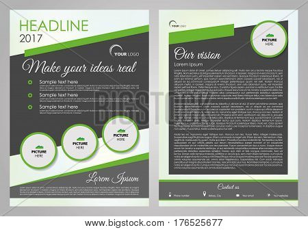 Vector flyer, corporate business, annual report, brochure design and cover presentation with green circle. Front page and back page.