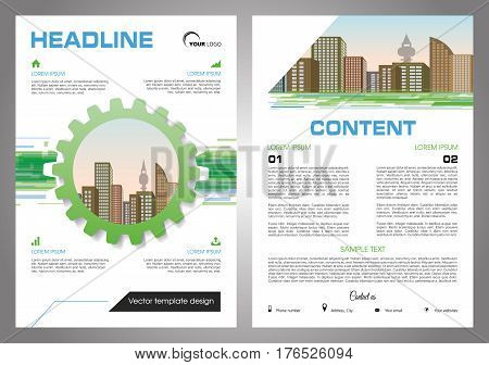 Vector flyer, corporate business, annual report, brochure design and cover presentation with gear and vector city in green and blue color.