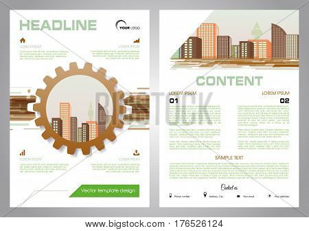 Vector flyer, corporate business, annual report, brochure design and cover presentation with gear and vector city in brown color.
