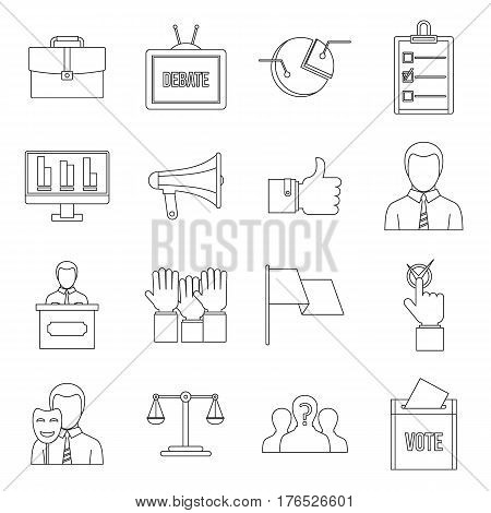 Election voting icons set. Outline illustration of 16 Election voting vector icons for web