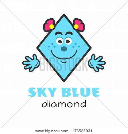 Diamond geometric shape vector illustration for kids. Cartoon sky blue diamond character with funny face and hands for preschool or primary school children. Cards with funny geometric shapes for activities with children