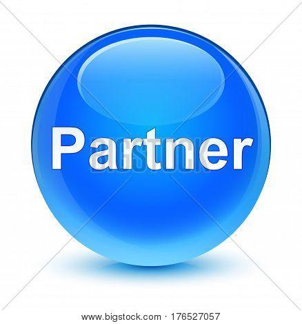 Partner Glassy Cyan Blue Round Button