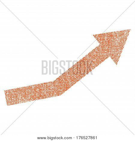 Growth Trend vector textured icon for overlay watermark stamps. Fabric orange vectorized texture. Symbol with dust design. Rubber seal stamp with fiber textile structure.