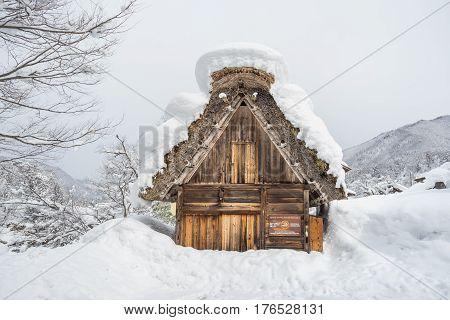 Shirakawa, Japan - 14 FEB 2017: Traditional Gusso farmhouse at Shirakawa go village, Japan.Winter in Shirakawa-go Japan