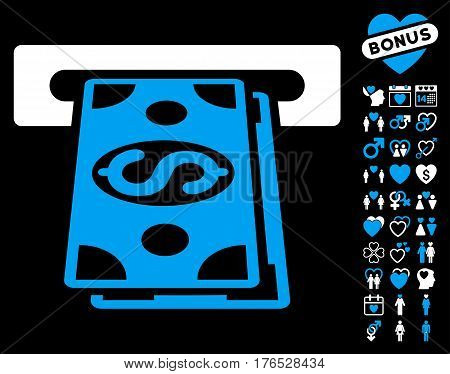 Cash Withdraw pictograph with bonus valentine design elements. Vector illustration style is flat iconic symbols on white background.