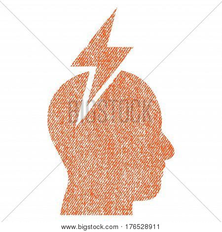 Headache vector textured icon for overlay watermark stamps. Fabric orange vectorized texture. Symbol with unclean design. Rubber seal stamp with fiber textile structure.