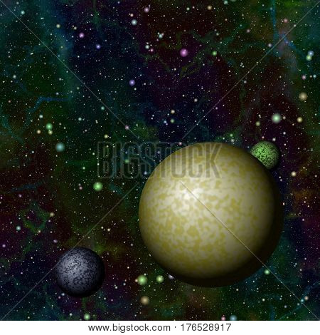 Abstract colorful universe with planets, Shiny night starry sky, Multicolor outer space, Galactic texture background, Seamless illustration