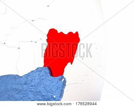 Nigeria On Shiny Globe With Water