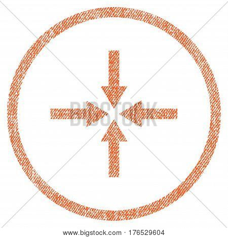 Impact Arrows vector textured icon for overlay watermark stamps. Fabric orange vectorized texture. Symbol with scratched design. Rubber seal stamp with fiber textile structure.
