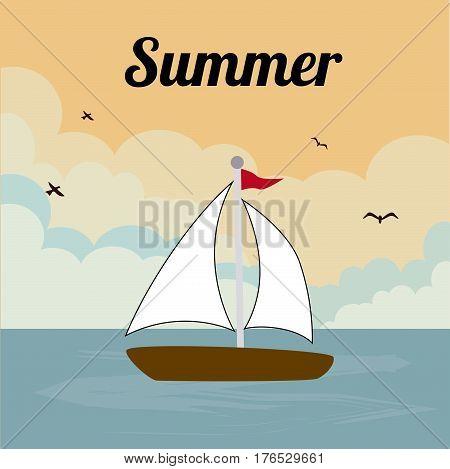 Summer design over seascape background, vector illustration