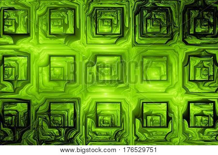 Abstract Grunge Texture With Distorted Shapes. Fractal Background In Green Colors. Digital Art. 3D R