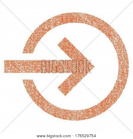 Import vector textured icon for overlay watermark stamps. Fabric orange vectorized texture. Symbol with dust design. Rubber seal stamp with fiber textile structure.