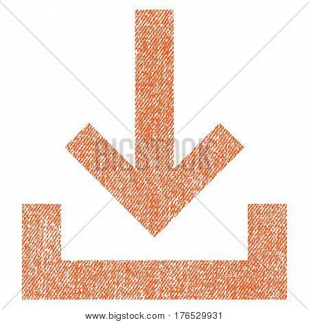 Inbox vector textured icon for overlay watermark stamps. Fabric orange vectorized texture. Symbol with scratched design. Rubber seal stamp with fiber textile structure.