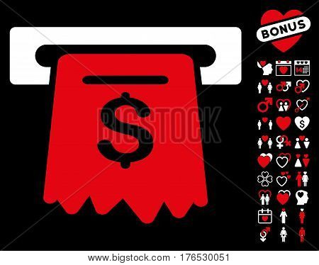 ATM pictograph with bonus dating pictograph collection. Vector illustration style is flat iconic symbols on white background.