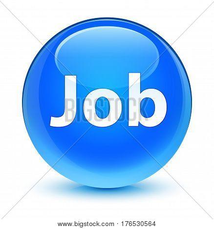 Job Glassy Cyan Blue Round Button