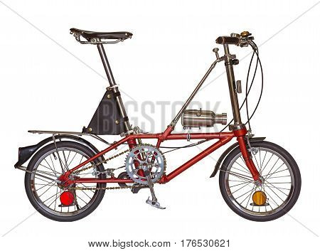 close up red bicycle small wheel isolated on a white background with clipping path