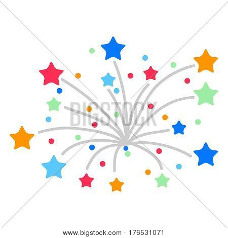 Fireworks from the stars. Flat design vector illustration vector.