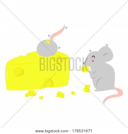 two happy grey mice eating cheese vector
